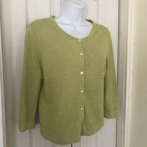 J. Jill green cardigan sweater size small